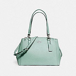 COACH SMALL CHRISTIE CARRYALL IN GLITTER CROSSGRAIN LEATHER - SILVER/AQUA - F13684