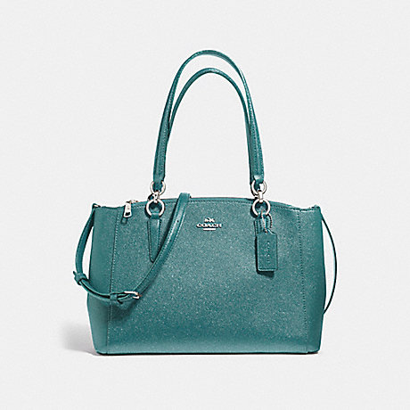 COACH f13684 SMALL CHRISTIE CARRYALL IN GLITTER CROSSGRAIN LEATHER SILVER/DARK TEAL