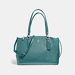 SMALL CHRISTIE CARRYALL IN GLITTER CROSSGRAIN LEATHER - F13684 - SILVER/DARK TEAL
