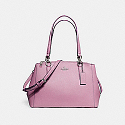 COACH SMALL CHRISTIE CARRYALL IN GLITTER CROSSGRAIN LEATHER - SILVER/LILAC - F13684