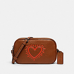 KEITH HARING CROSSBODY POUCH - QB/SADDLE - COACH F13687