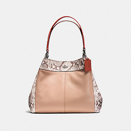 COACH LEXY SHOULDER BAG IN POLISHED PEBBLE LEATHER WITH PYTOHN EMBOSSED LEATHER TRIM - SILVER/NUDE PINK MULTI - f13691