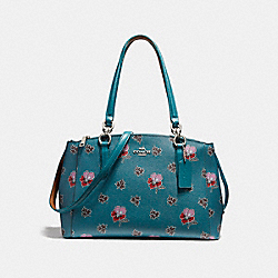 COACH SMALL CHRISTIE CARRYALL IN WILDFLOWER PRINT COATED CANVAS - SILVER/DARK TEAL - F13768