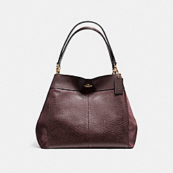 LEXY SHOULDER BAG IN MIXED MATERIALS - F13940 - LIGHT GOLD/OXBLOOD 1