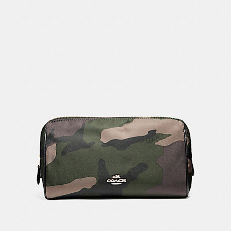 COACH COSMETIC CASE 22 IN CAMO NYLON - LIGHT GOLD/DARK GREEN - f14401