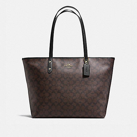 COACH f14929 LARGE CITY ZIP TOTE IN SIGNATURE COATED CANVAS IMITATION GOLD/BROWN