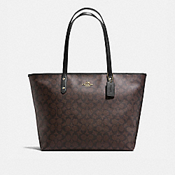 COACH LARGE CITY ZIP TOTE IN SIGNATURE COATED CANVAS - IMITATION GOLD/BROWN - F14929