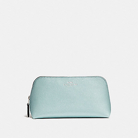 COACH f15152 COSMETIC CASE 17 IN GLITTER CROSSGRAIN LEATHER SILVER/AQUA