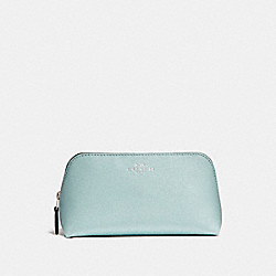 COACH F15152 - COSMETIC CASE 17 IN GLITTER CROSSGRAIN LEATHER SILVER/AQUA