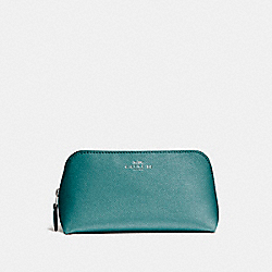 COACH F15152 - COSMETIC CASE 17 IN GLITTER CROSSGRAIN LEATHER SILVER/DARK TEAL