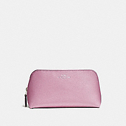 COSMETIC CASE 17 IN GLITTER CROSSGRAIN LEATHER - SILVER/LILAC - COACH F15152