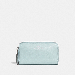 COACH F15153 - SMALL DOUBLE ZIP COIN CASE IN GLITTER CROSSGRAIN LEATHER SILVER/AQUA