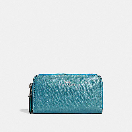 COACH f15153 SMALL DOUBLE ZIP COIN CASE IN GLITTER CROSSGRAIN LEATHER SILVER/DARK TEAL