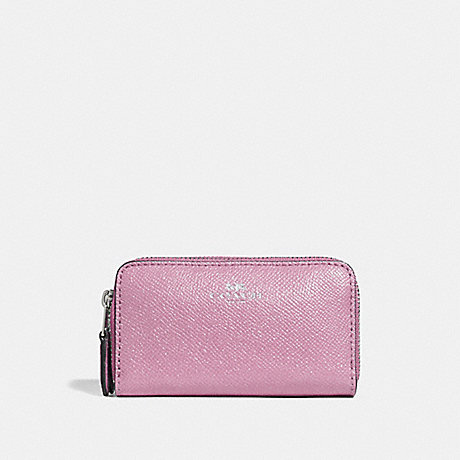 COACH f15153 SMALL DOUBLE ZIP COIN CASE IN GLITTER CROSSGRAIN LEATHER SILVER/LILAC
