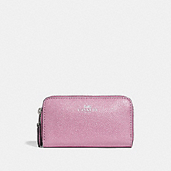 COACH F15153 - SMALL DOUBLE ZIP COIN CASE IN GLITTER CROSSGRAIN LEATHER SILVER/LILAC