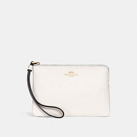 COACH CORNER ZIP WRISTLET - CHALK/IMITATION GOLD - f15154