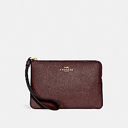 CORNER ZIP WRISTLET IN GLITTER CROSSGRAIN LEATHER - f15154 - LIGHT GOLD/OXBLOOD 1