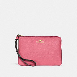 CORNER ZIP WRISTLET - PEONY/LIGHT GOLD - COACH F15154