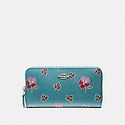 COACH ACCORDION ZIP WALLET IN WILDFLOWER PRINT COATED CANVAS - SILVER/DARK TEAL - F15155