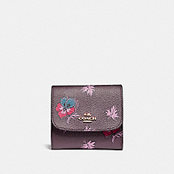 COACH SMALL WALLET IN WILDFLOWER PRINT COATED CANVAS - LIGHT GOLD/OXBLOOD 1 - F15563