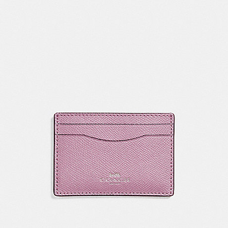 COACH FLAT CARD CASE IN GLITTER CROSSGRAIN LEATHER - SILVER/LILAC - f15565
