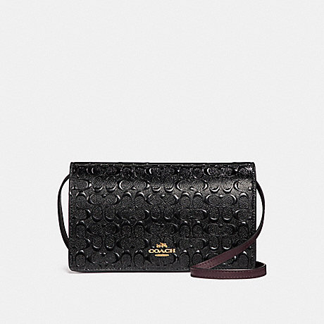 COACH f15620 FOLDOVER CROSSBODY CLUTCH IN SIGNATURE DEBOSSED PATENT LEATHER LIGHT GOLD/BLACK