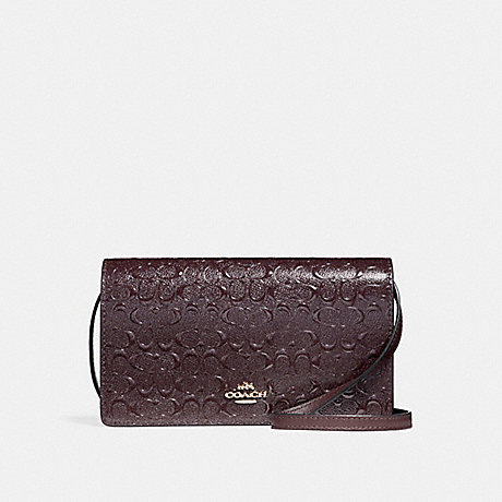COACH f15620 FOLDOVER CROSSBODY CLUTCH IN SIGNATURE DEBOSSED PATENT LEATHER LIGHT GOLD/OXBLOOD 1