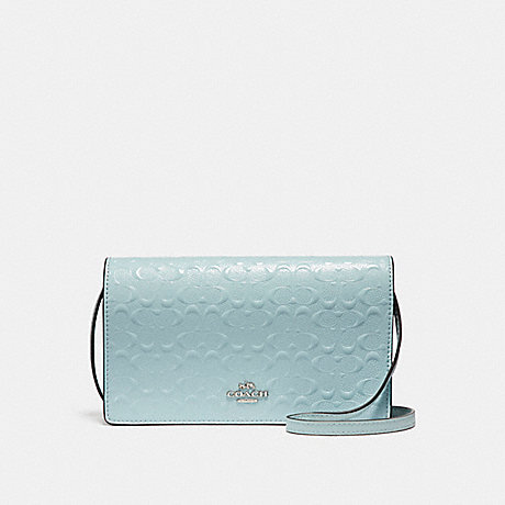 COACH f15620 FOLDOVER CROSSBODY CLUTCH IN SIGNATURE DEBOSSED PATENT LEATHER SILVER/AQUA