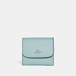 SMALL WALLET IN GLITTER CROSSGRAIN LEATHER - f15622 - SILVER/AQUA