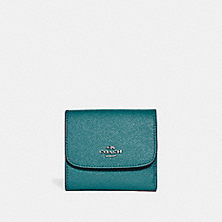 SMALL WALLET IN GLITTER CROSSGRAIN LEATHER - f15622 - SILVER/DARK TEAL