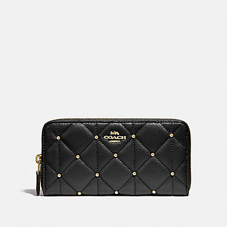 COACH ACCORDION ZIP WALLET WITH QUILTING - BLACK/LIGHT GOLD - F15763