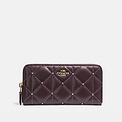 COACH ACCORDION ZIP WALLET WITH QUILTING - LIGHT GOLD/OXBLOOD 1 - F15763