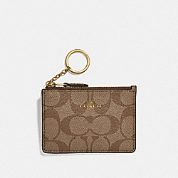 MINI SKINNY ID CASE IN SIGNATURE CANVAS - GOLD/KHAKI/PLATINUM - COACH F16107