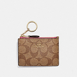 MINI SKINNY ID CASE IN SIGNATURE CANVAS - KHAKI/PINK RUBY/GOLD - COACH F16107