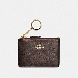 MINI SKINNY ID CASE IN SIGNATURE CANVAS - IM/BROWN/WINE - COACH F16107