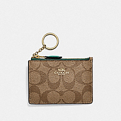MINI SKINNY ID CASE IN SIGNATURE CANVAS - KHAKI/DARK TURQUOISE/LIGHT GOLD - COACH F16107