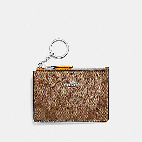 COACH MINI SKINNY ID CASE IN SIGNATURE CANVAS - SILVER/KHAKI/TANGERINE - f16107