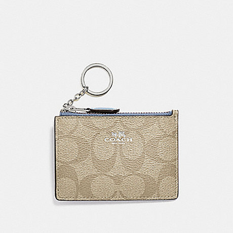 COACH MINI SKINNY ID CASE IN SIGNATURE CANVAS - LIGHT KHAKI/POOL/SILVER - f16107