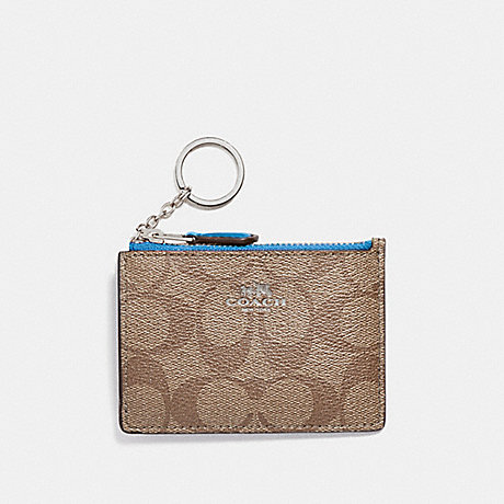 COACH MINI SKINNY ID CASE IN SIGNATURE CANVAS - khaki/bright blue/silver - f16107