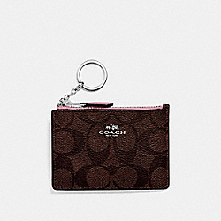MINI SKINNY ID CASE IN SIGNATURE CANVAS - BROWN/DUSTY ROSE/SILVER - COACH F16107