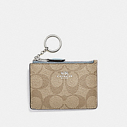 MINI SKINNY ID CASE IN SIGNATURE CANVAS - LIGHT KHAKI/SEAFOAM/SILVER - COACH F16107