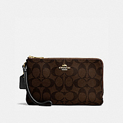 COACH DOUBLE ZIP WALLET IN SIGNATURE CANVAS - BROWN/BLACK/IMITATION GOLD - F16109