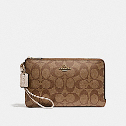 DOUBLE ZIP WALLET - LIGHT GOLD/KHAKI - COACH F16109