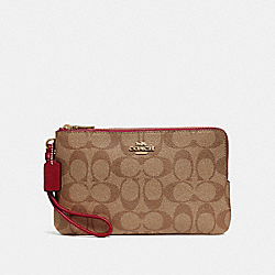 DOUBLE ZIP WALLET IN SIGNATURE CANVAS - KHAKI/CHERRY/LIGHT GOLD - COACH F16109