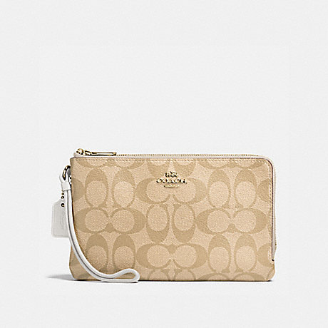 COACH DOUBLE ZIP WALLET IN SIGNATURE COATED CANVAS - IMITATION GOLD/LIGHT KHAKI - f16109