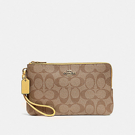 COACH DOUBLE ZIP WALLET IN SIGNATURE CANVAS - KHAKI/SUNFLOWER/GOLD - F16109