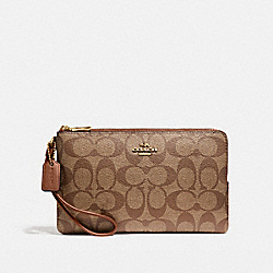 COACH DOUBLE ZIP WALLET IN SIGNATURE CANVAS - KHAKI/SADDLE 2/LIGHT GOLD - F16109