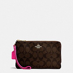 COACH DOUBLE ZIP WALLET IN SIGNATURE COATED CANVAS - IMITATION GOLD/BROWN - F16109