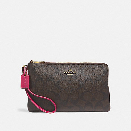 COACH DOUBLE ZIP WALLET IN SIGNATURE CANVAS - IMNM4 - f16109