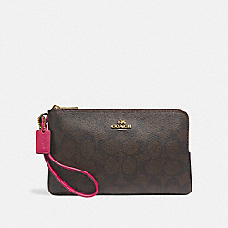 DOUBLE ZIP WALLET IN SIGNATURE CANVAS - IMNM4 - COACH F16109
